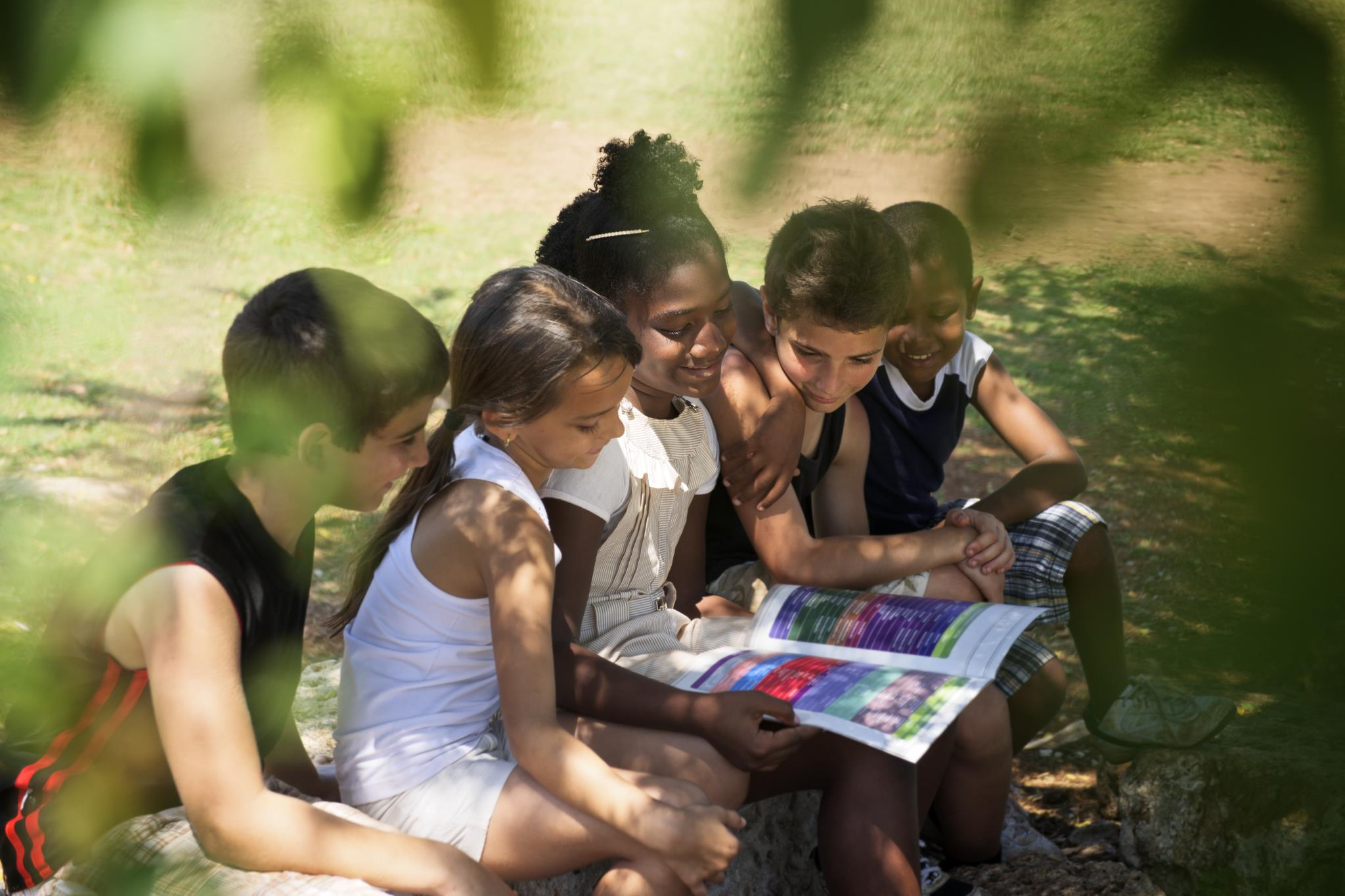 Children reading a book together in the shade